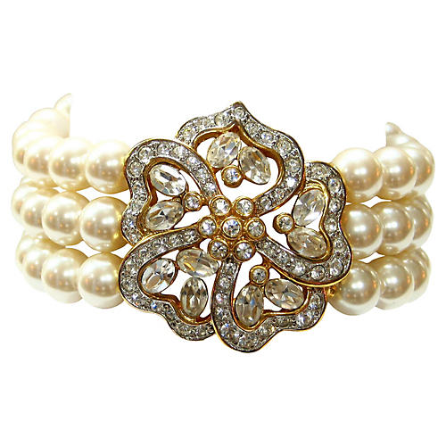 Faux-Pearl & Crystal Enhancer Bracelet