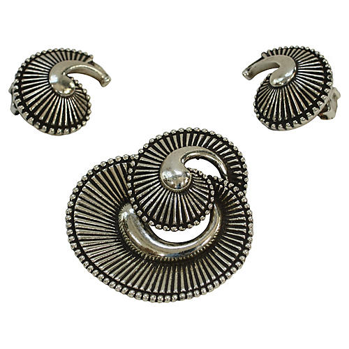 Silver Plate Nautilus Brooch w/ Earrings