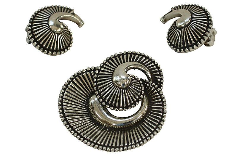 Silver Plate Nautilus Brooch w/ Earrings