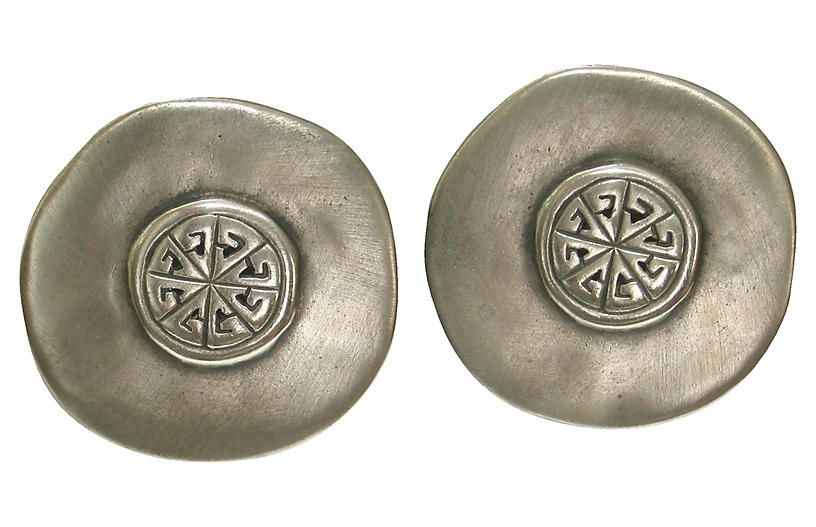 Givenchy Pewter Shield Earrings