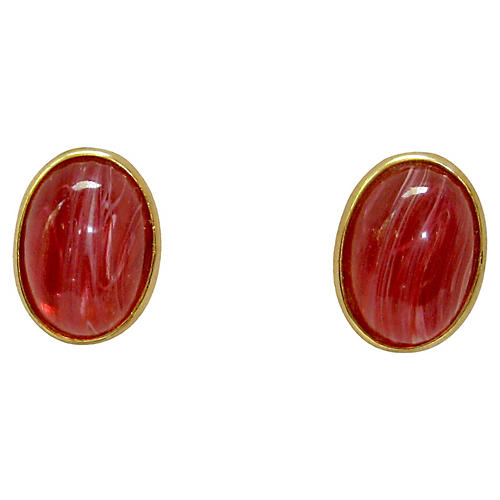 1960s Stannard Glass Clip-On Earrings
