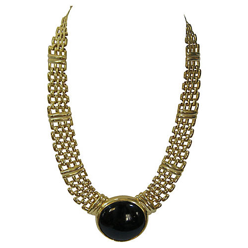 1960s Napier Onyx & Gold Necklace