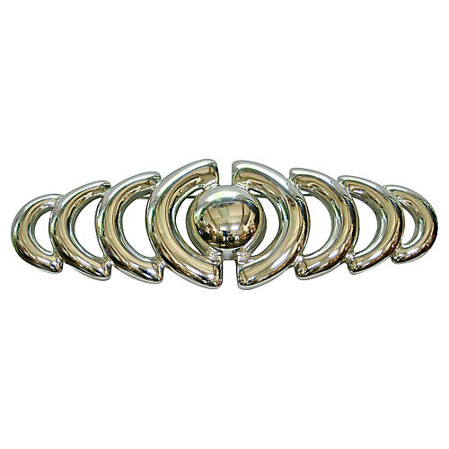 Givenchy Modernist Silver Brooch
