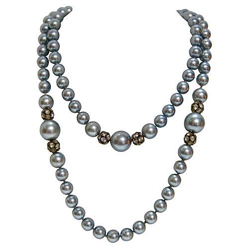 Blue Faux-Pearl Necklace