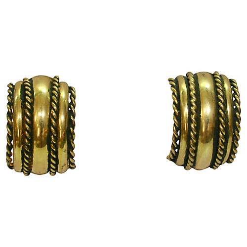 1970s Gold & Black Cable Earrings
