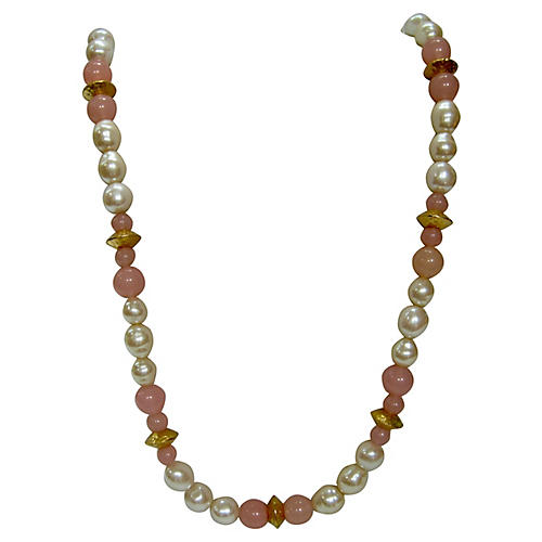 1980s Glass Pearl & Pink Beaded Necklace