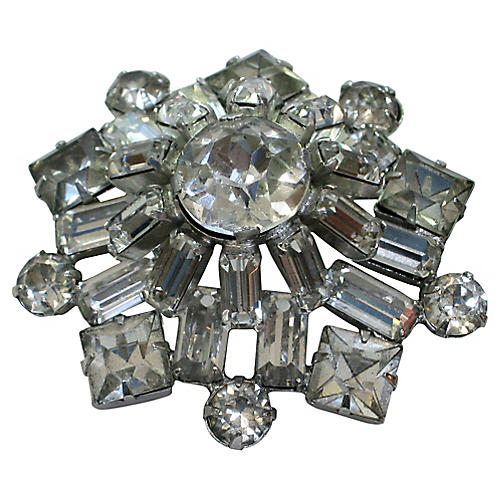 1940s Crystal Dome Brooch
