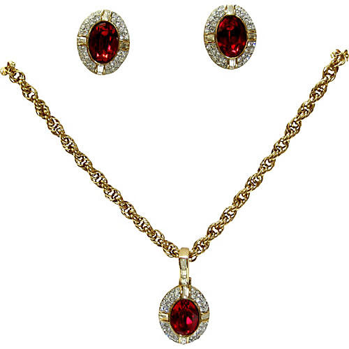 Givenchy Crystal Necklace & Earrings Set