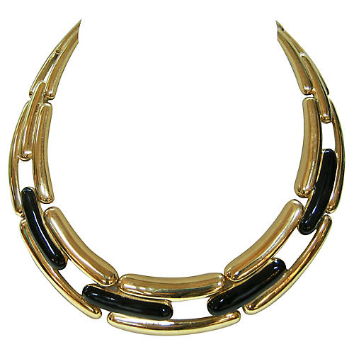 Givenchy Gold & Black Collar Necklace