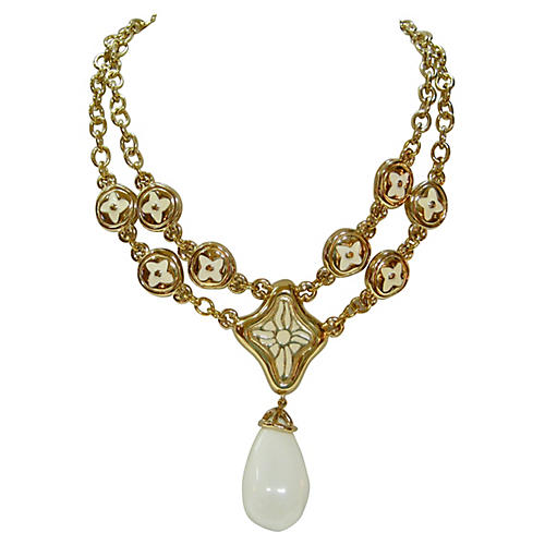 Givenchy Milk Glass Enhancer Necklace