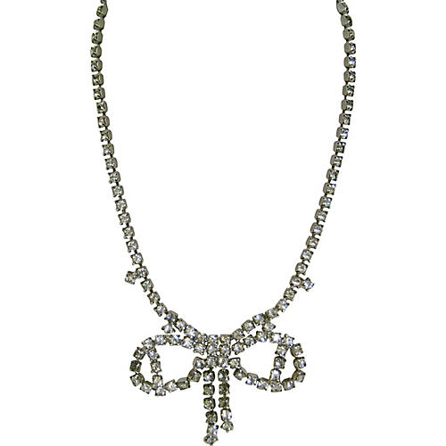 1960s Silver Crystal Bow Necklace