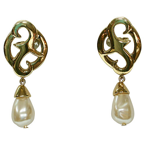 Givenchy Baroque Pearl Dangle Earrings