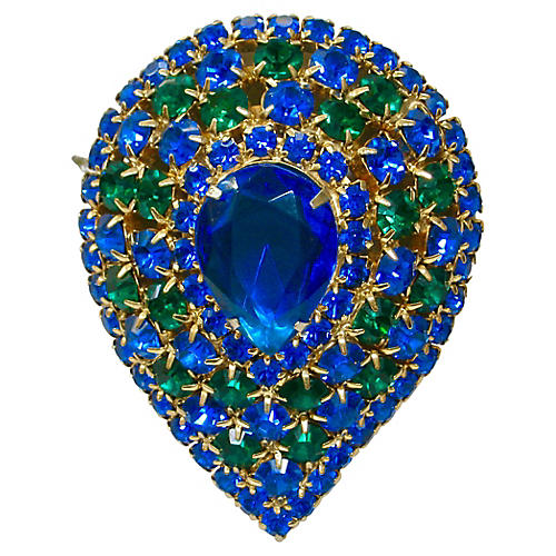 1950s Oversize Sapphire Crystal Brooch