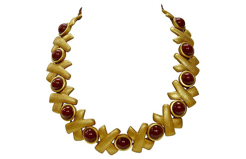 Gold Textured Burgundy Collar Necklace