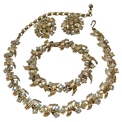 1950s Gold Aurora Borealis Necklace Set