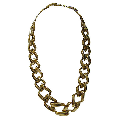 1980s Gold-Plated Cable Link Necklace