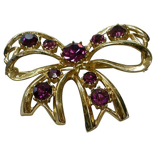 1940s Amethyst Crystal Bow Brooch