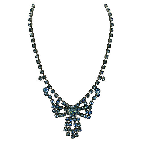 1940s Blue Crystal Bow Necklace