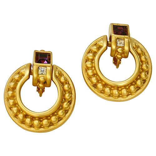 Givenchy Crystal & Amethyst Earrings