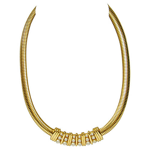 Modernist Faux-Pearl Crescent Necklace