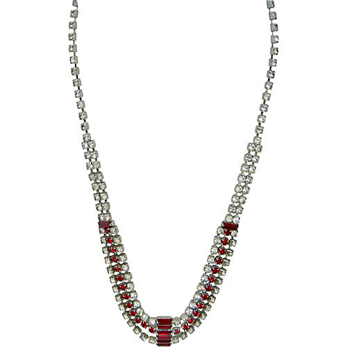 1950s Silver Ruby Crystal Necklace