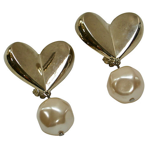 Givenchy Baroque Pearl Heart Earrings