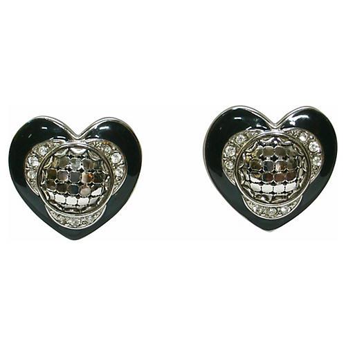 Black Enamel Heart Earrings