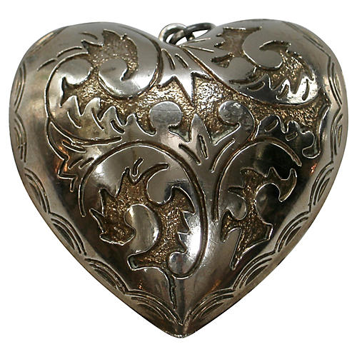 Victorian Silver Etched Heart Pendant