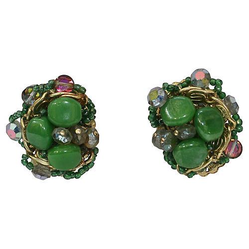 1950s Jade & Crystal Earrings