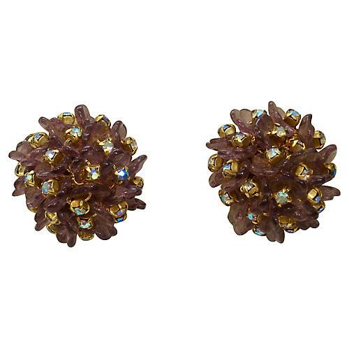 1960s Juliana Amethyst Crystal Earrings
