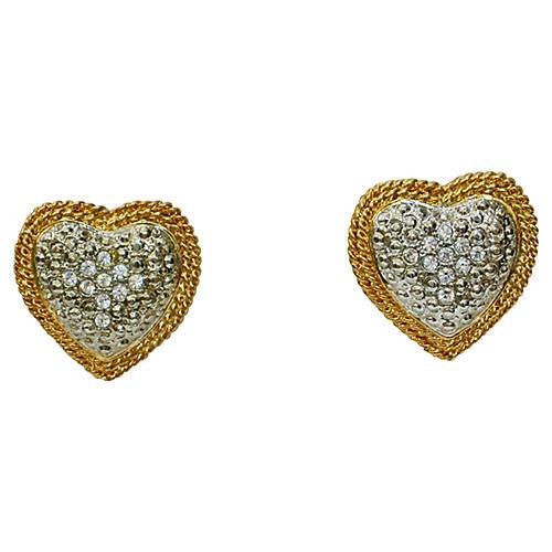1980s Gold & Silver Heart Earrings