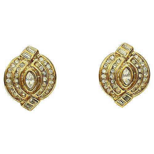 1980s Goldtone Crystal Earrings