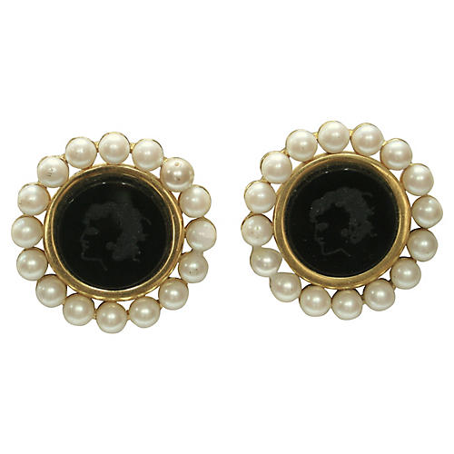 Karl Lagerfeld Cameo Earrings