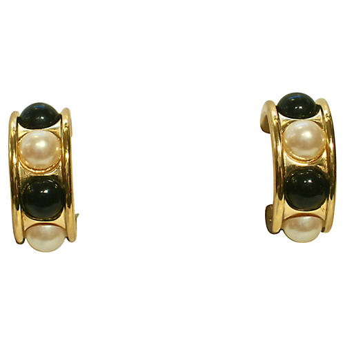 1980s Givenchy Black & White Earrings