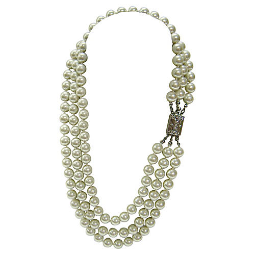 1970s Triple-Strand Glass Pearl Necklace