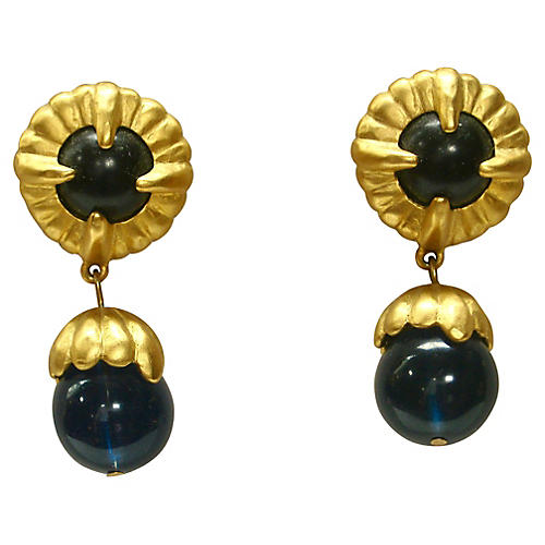 Givenchy Blue Glass Drop Earrings