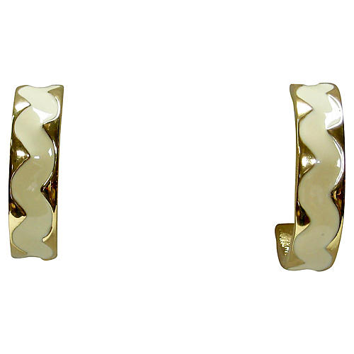 Modernist Givenchy Cream & Gold Earrings