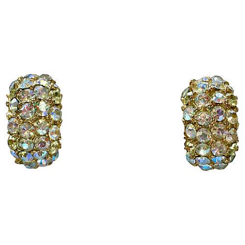1960s Aurora Borealis Crystal Earrings