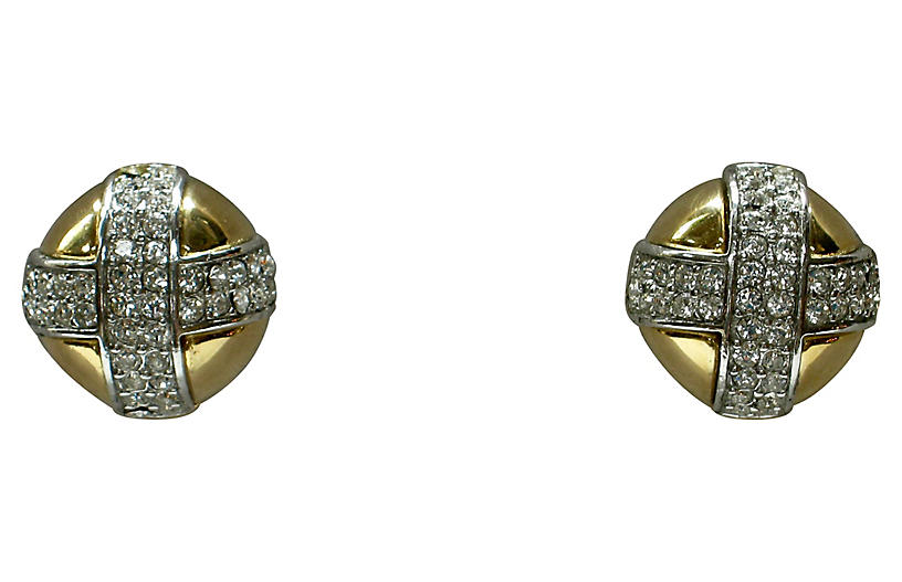 Givenchy Crystal Button Earrings