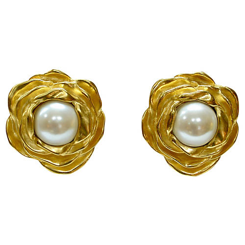 1980s Givenchy Rose Earrings