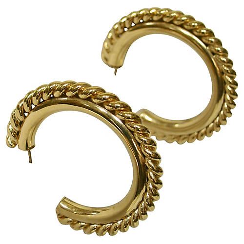 1980s Gold Cable Hoop Earrings