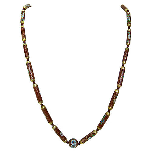 1940s Cloisonné Floral Beaded Necklace
