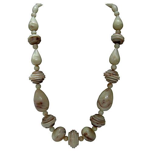 Modernist Marbleized Beaded Necklace