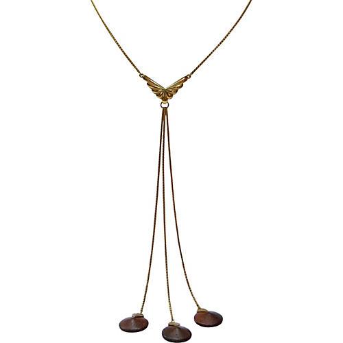 1960s Gold & Triple Wood Drop Necklace