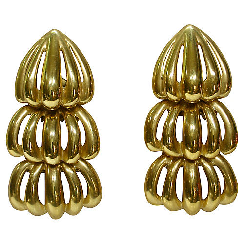 Givenchy Carved Tiered Gold Earrings