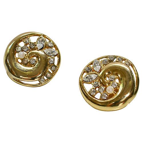 1980s Modernist Gold Wave Earrings