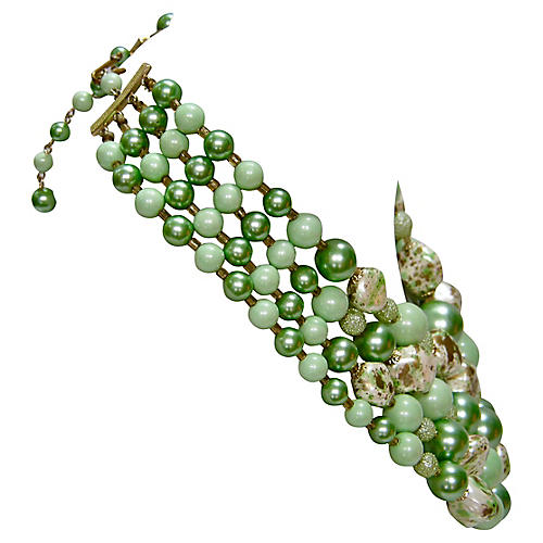 1950s Jade Glass Beaded Necklace