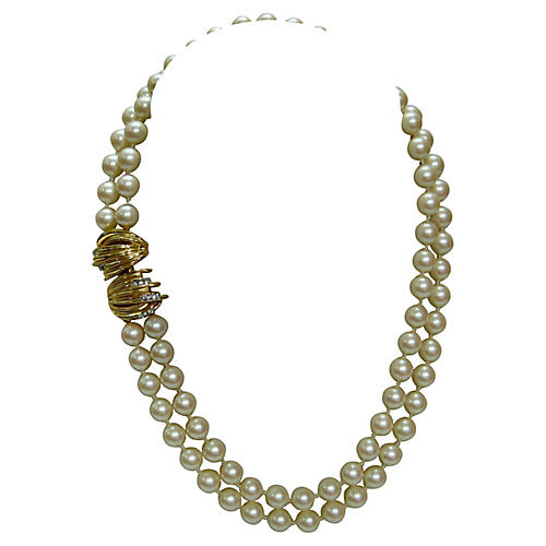 1980s Givenchy Pearl Enhancer Necklace