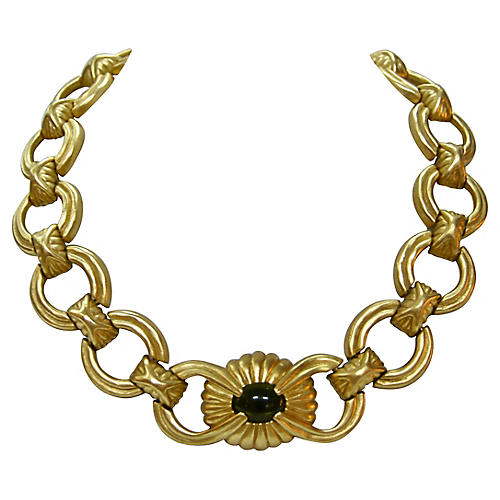 Givenchy Matte Gold Peridot Necklace