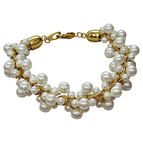 1960s Faux-Pearl Cluster Bracelet